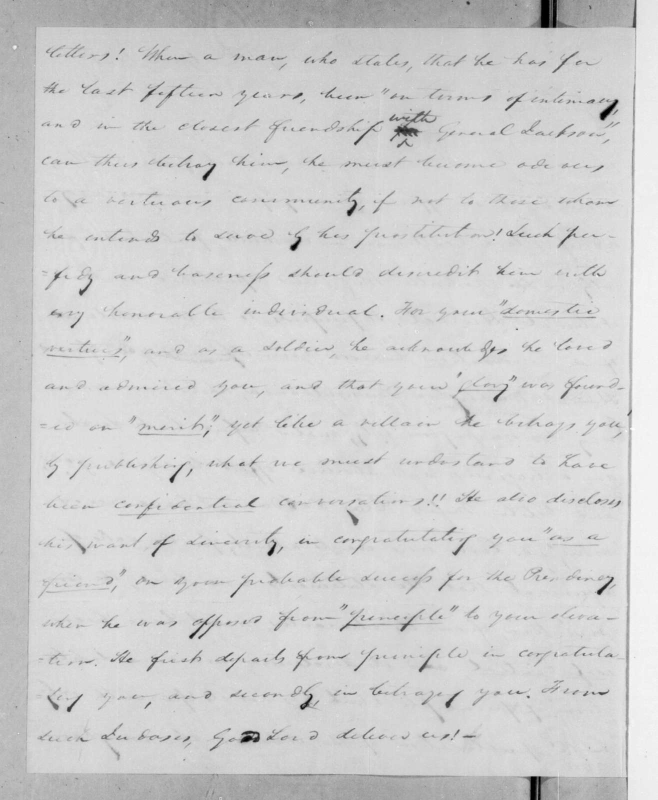 Samuel Ragland Overton to Andrew Jackson, April 12, 1825