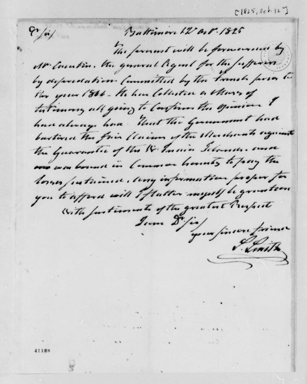 Samuel Smith to Thomas Jefferson, October 12, 1825