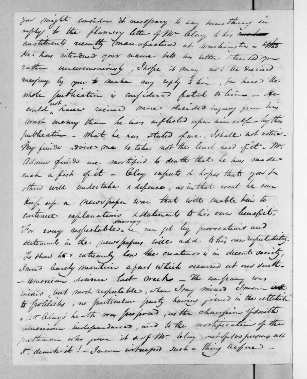 Samuel Swartwout to Andrew Jackson, April 2, 1825