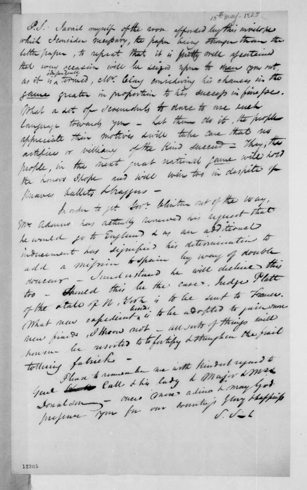Samuel Swartwout to Andrew Jackson, May 15, 1825