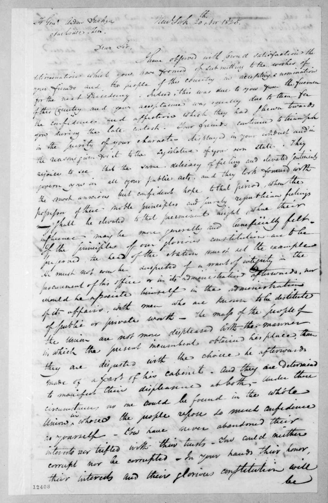 Samuel Swartwout to Andrew Jackson, November 20, 1825