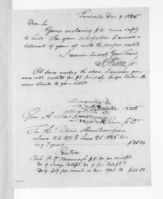 Shadrach Penn, Jr. to Andrew Jackson, December 9, 1825