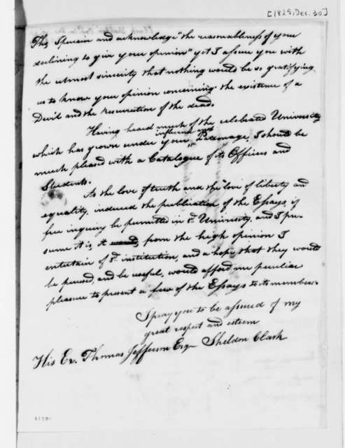 Sheldon Clark to Thomas Jefferson, December 30, 1825