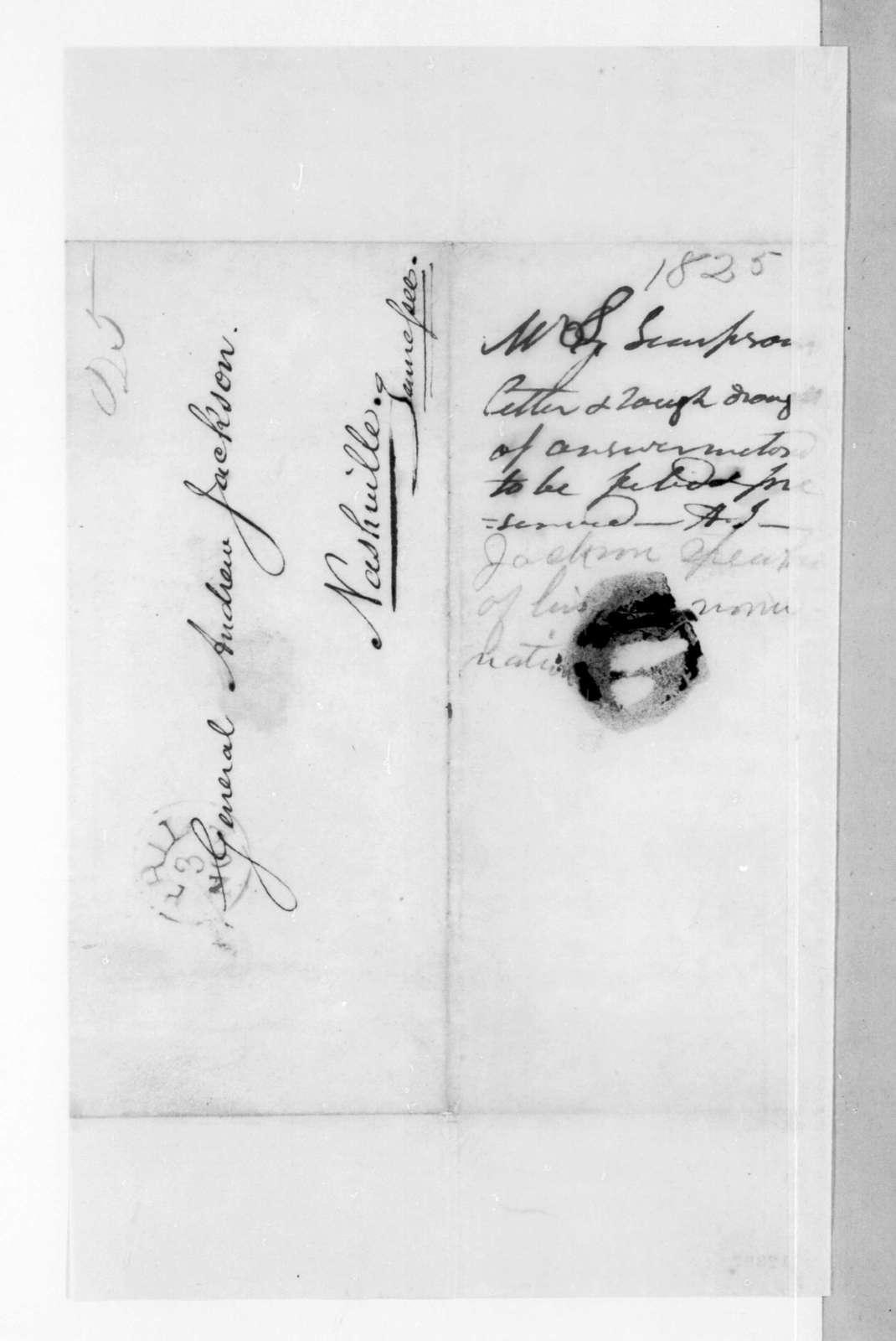 Stephen Simpson to Andrew Jackson, November 3, 1825