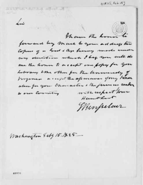 Stephen van Rensselaer to Thomas Jefferson, February 15, 1825