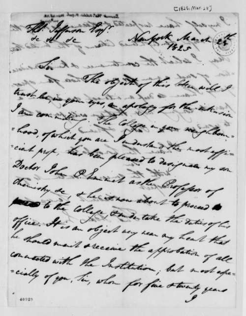 Thomas Addis Emmet to Thomas Jefferson, March 28, 1825