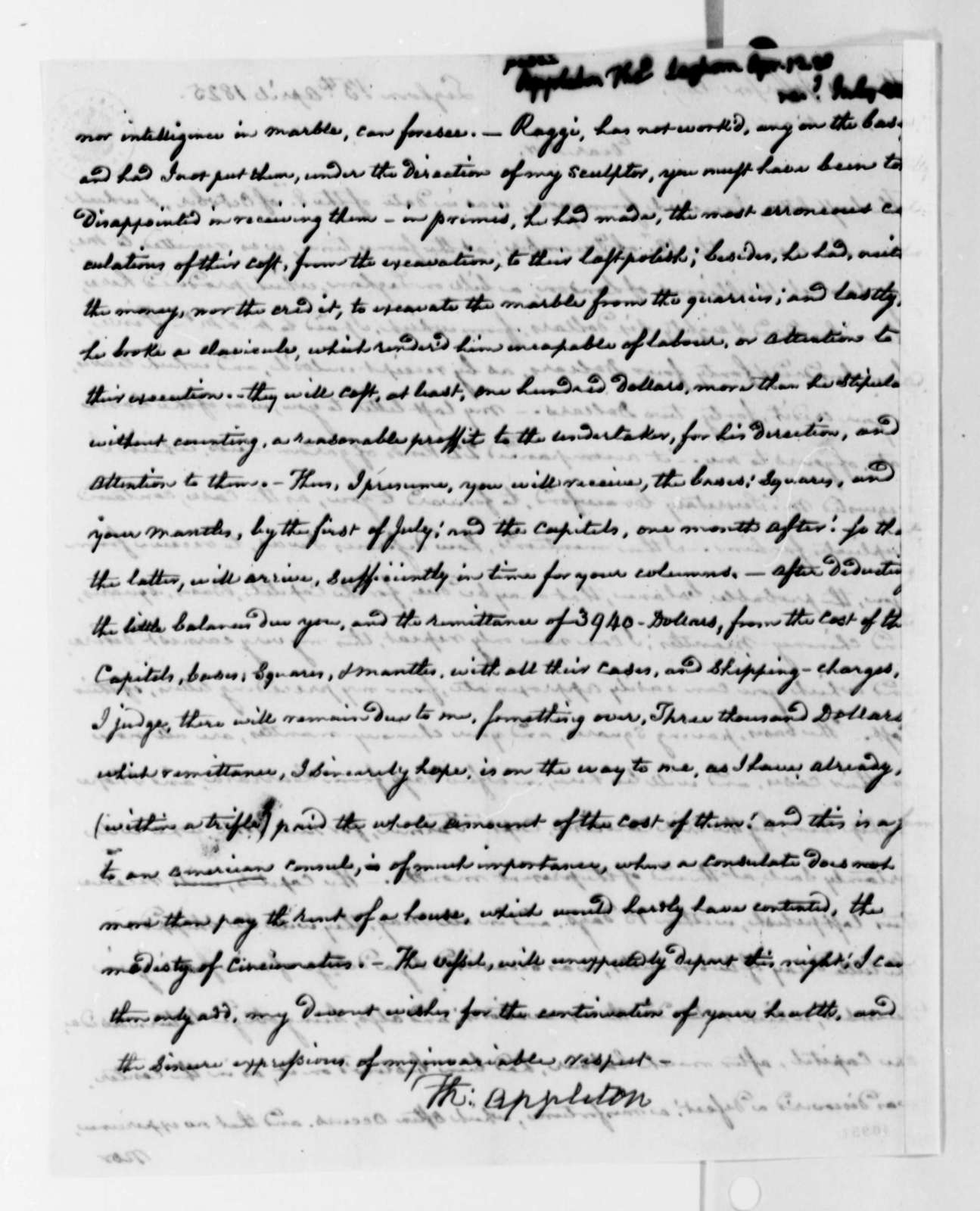 Thomas Appleton to Thomas Jefferson, April 13, 1825