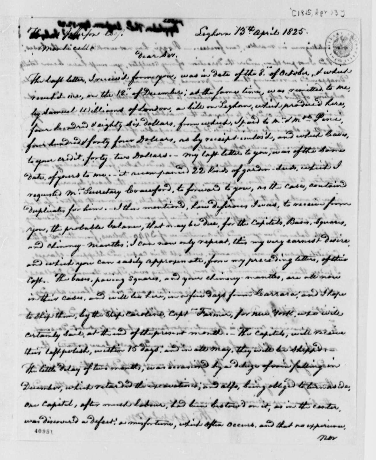 Thomas Appleton to Thomas Jefferson, April 13, 1825