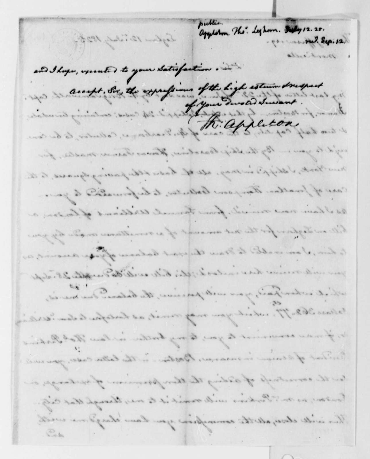 Thomas Appleton to Thomas Jefferson, July 12, 1825