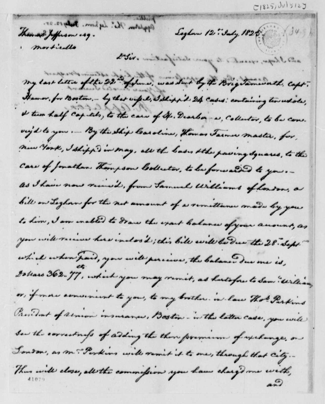 Thomas Appleton to Thomas Jefferson, July 12, 1825