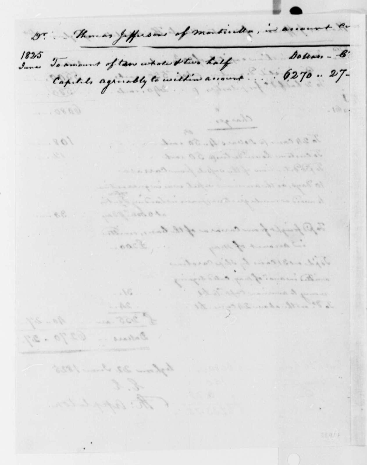 Thomas Appleton to Thomas Jefferson, June 22, 1825, with Invoice
