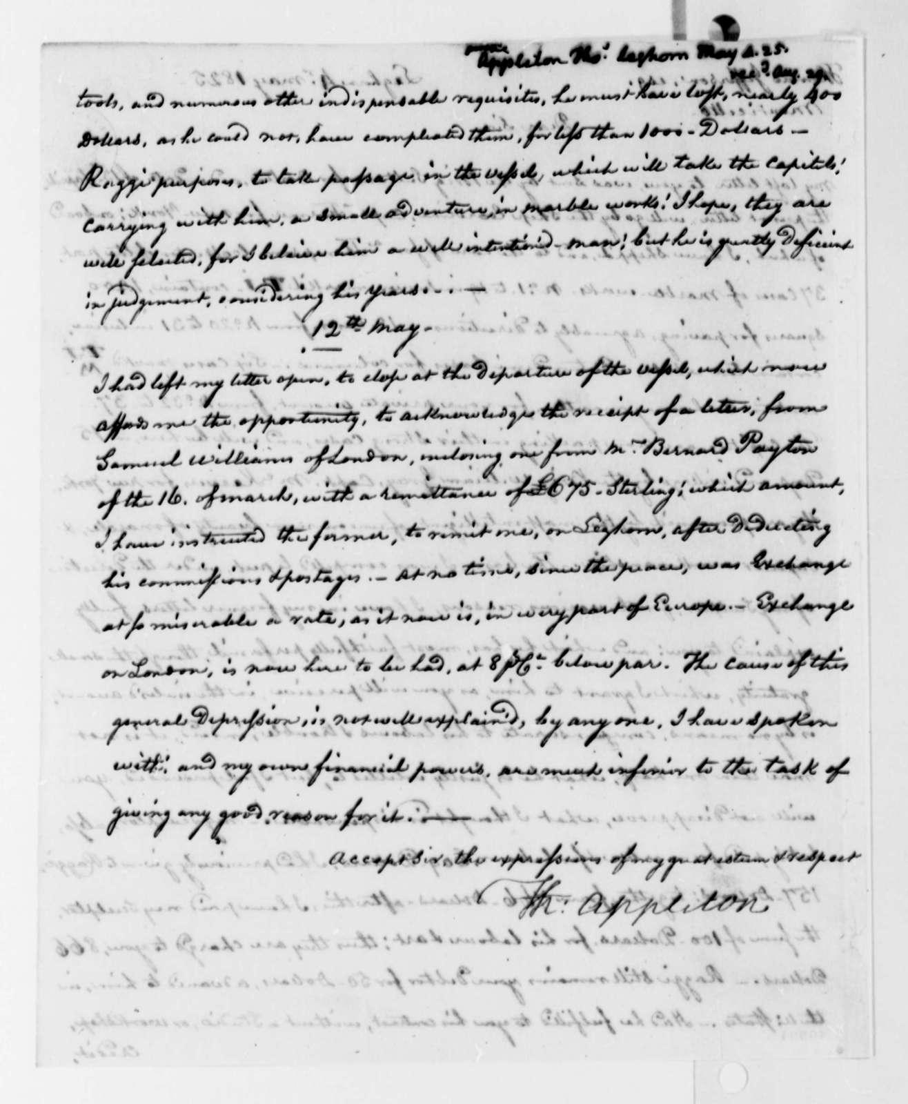 Thomas Appleton to Thomas Jefferson, May 4, 1825