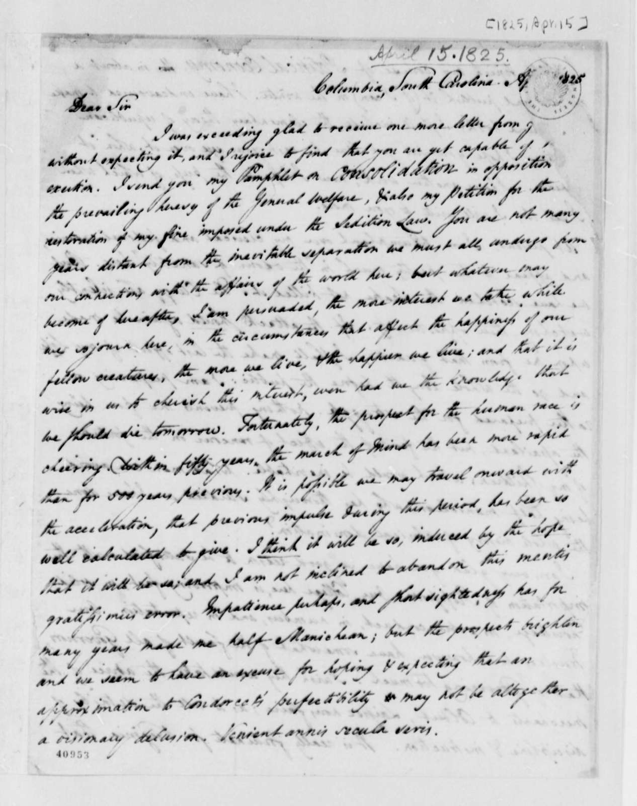 Thomas Cooper to Thomas Jefferson, April 15, 1825