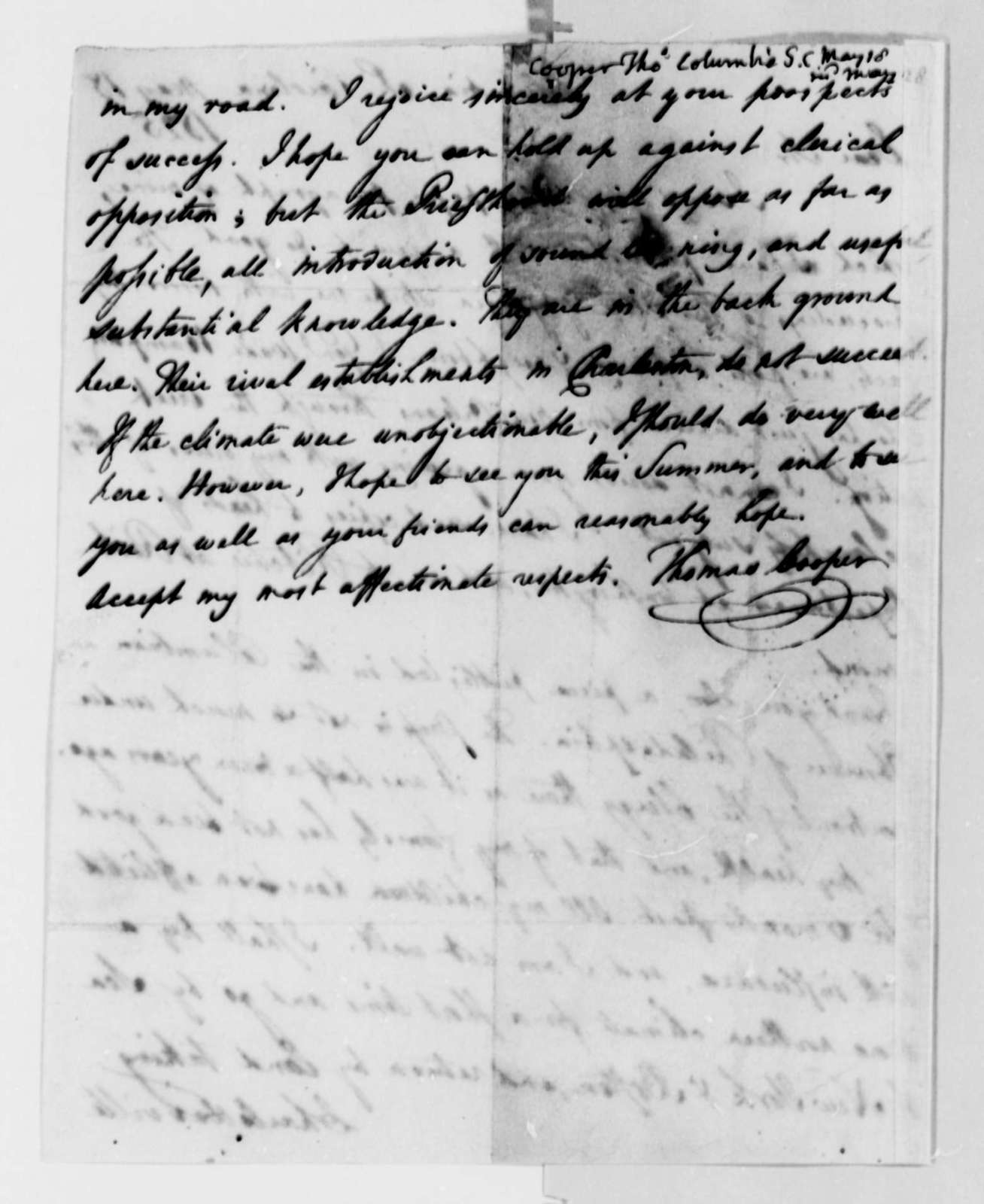 Thomas Cooper to Thomas Jefferson, May 18, 1825