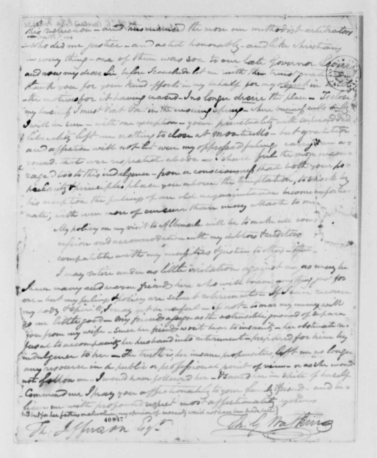 Thomas G. Watkins to Thomas Jefferson, February 12, 1825