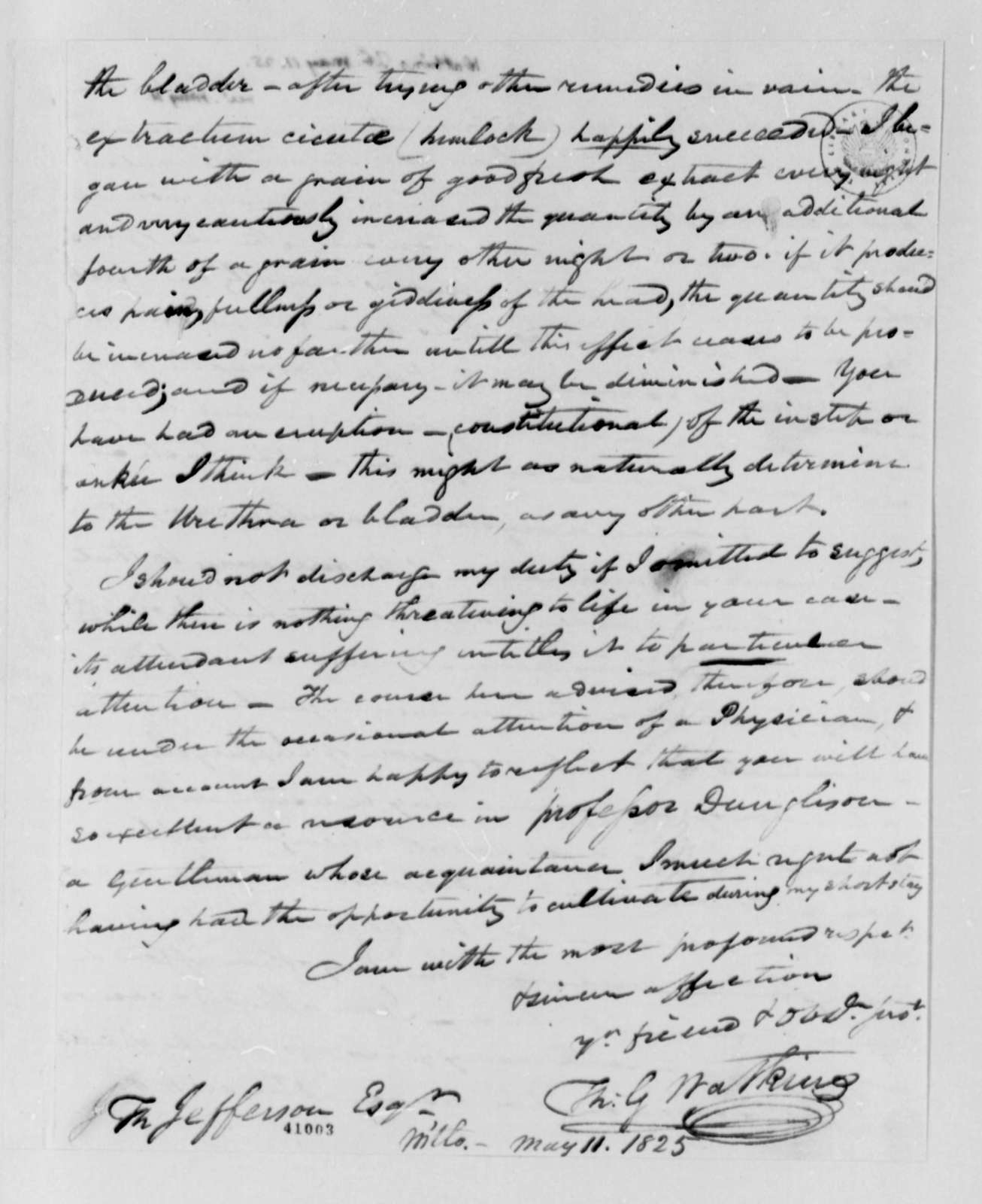 Thomas G. Watkins to Thomas Jefferson, May 11, 1825