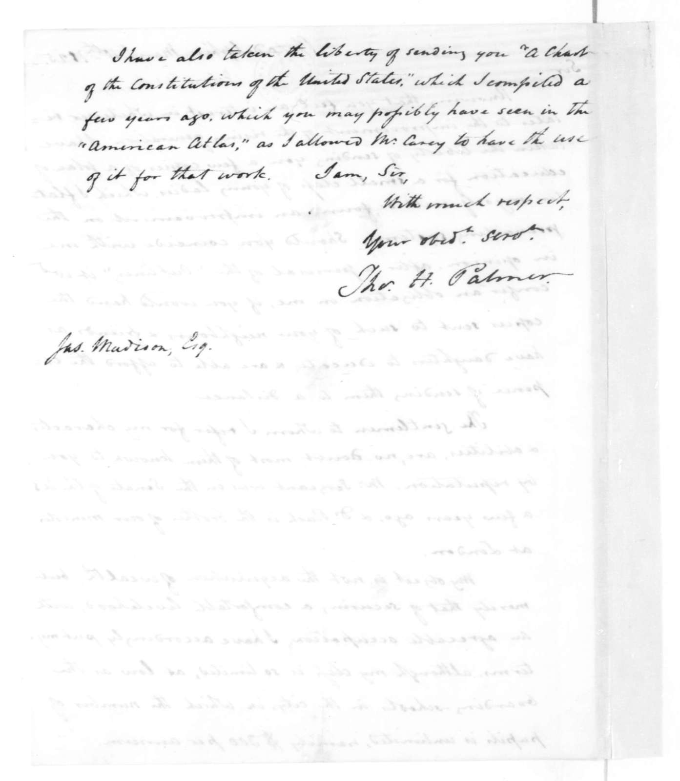 Thomas H. Palmer to James Madison, March 10, 1825.