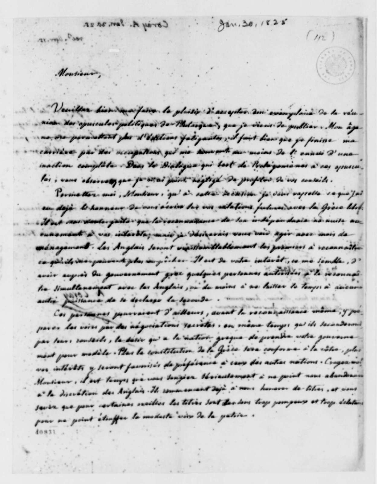 Thomas Jefferson to Adamantios Coray, January 30, 1825, in French