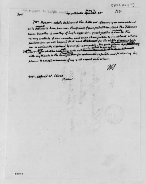 Thomas Jefferson to Alfred W. Elwes, May 2, 1825