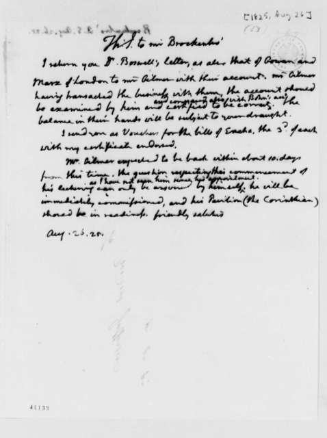 Thomas Jefferson to Arthur S. Brockenbrough, August 26, 1825