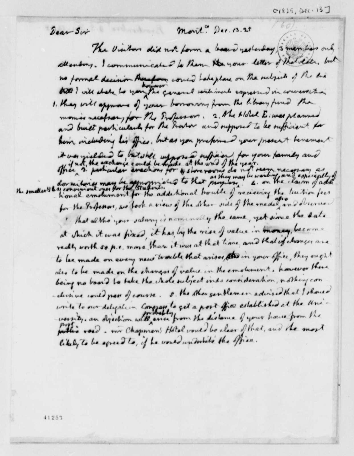 Thomas Jefferson to Arthur S. Brockenbrough, December 13, 1825