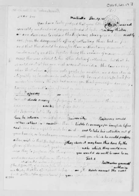 Thomas Jefferson to Arthur S. Brockenbrough, December 17, 1825