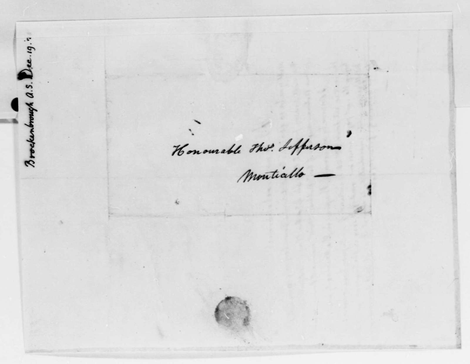 Thomas Jefferson to Arthur S. Brockenbrough, December 19, 1825
