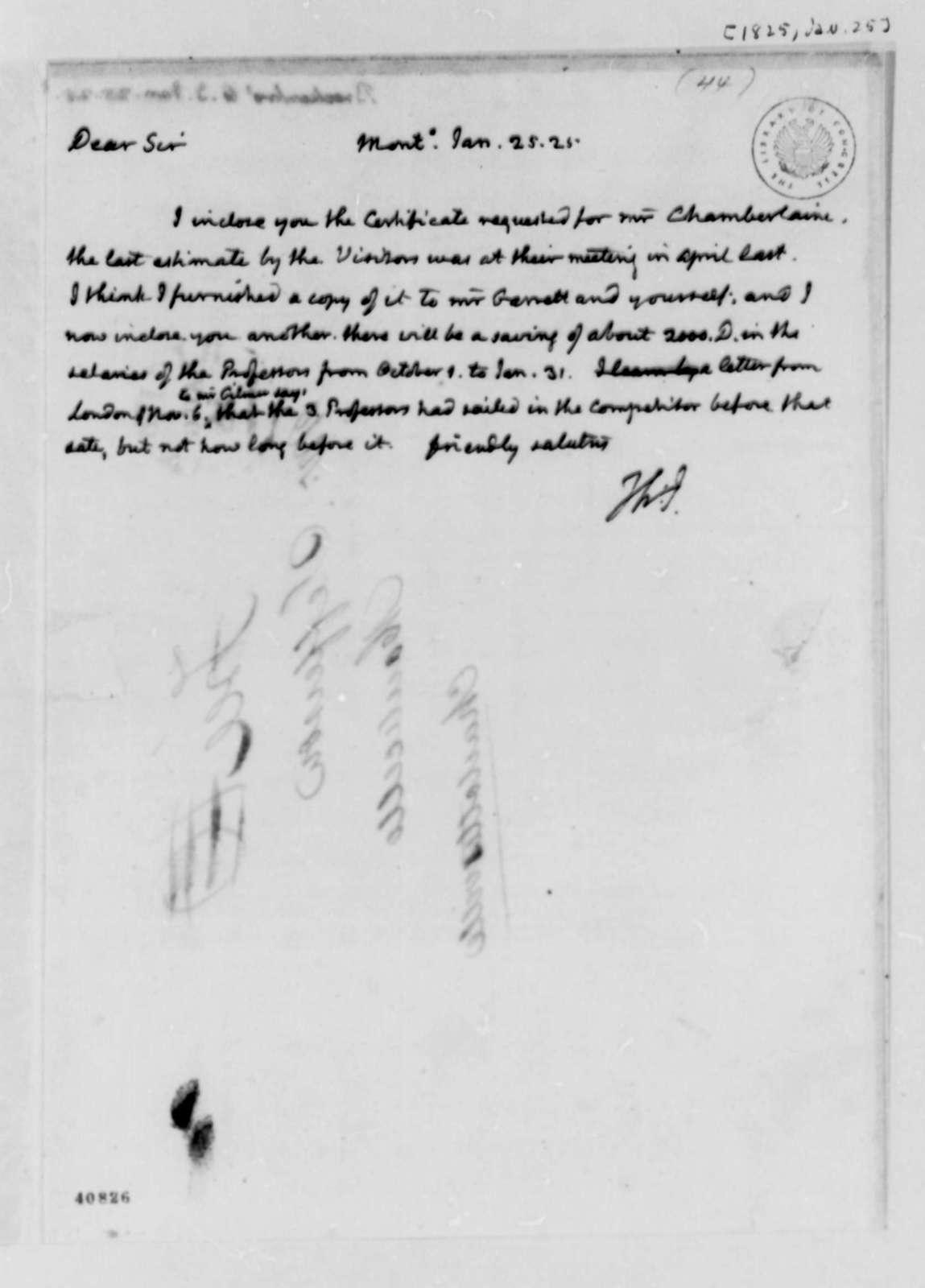 Thomas Jefferson to Arthur S. Brockenbrough, January 25, 1825