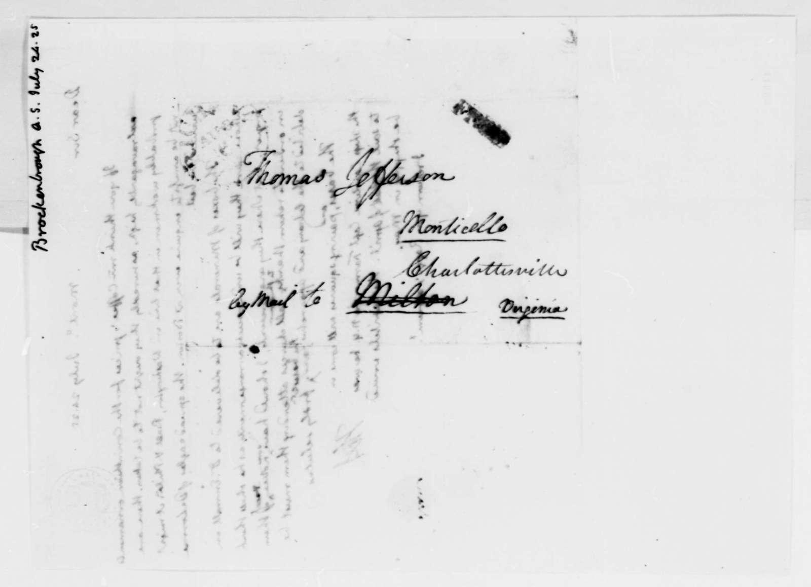 Thomas Jefferson to Arthur S. Brockenbrough, July 24, 1825