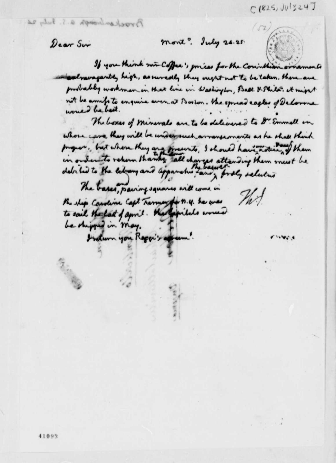 Thomas Jefferson to Arthur S. Brockenbrough, July 24, 1825