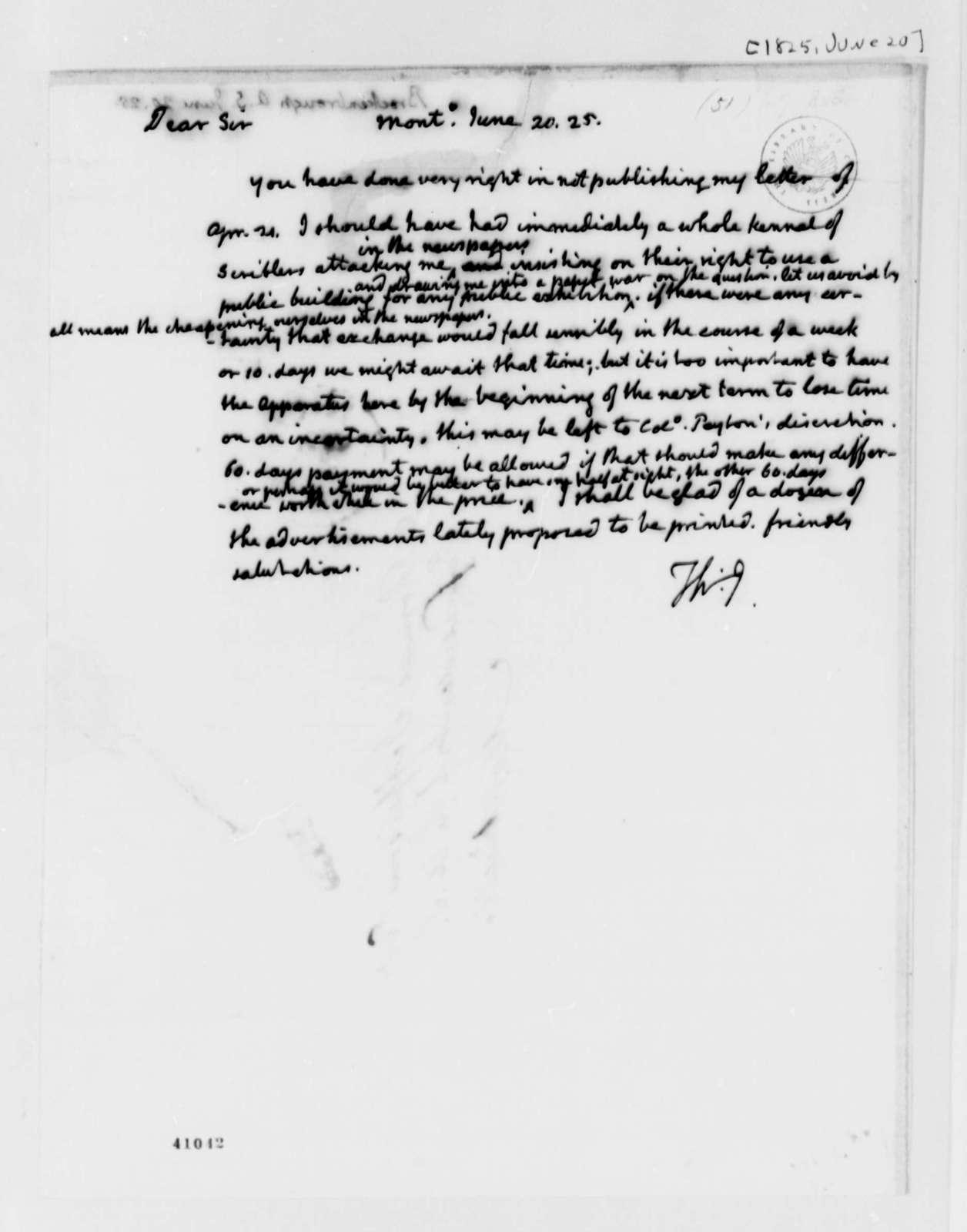 Thomas Jefferson to Arthur S. Brockenbrough, June 20, 1825