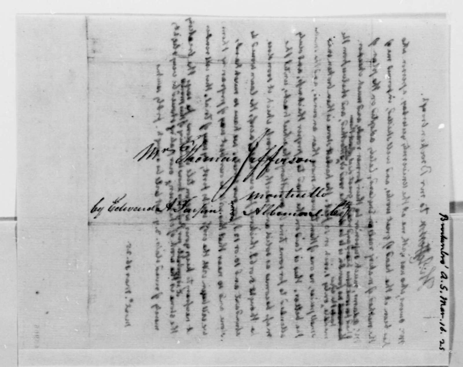 Thomas Jefferson to Arthur S. Brockenbrough, March 16, 1825