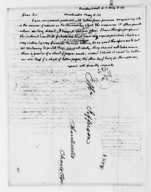 Thomas Jefferson to Arthur S. Brockenbrough, May 8, 1825, with Circular Draft