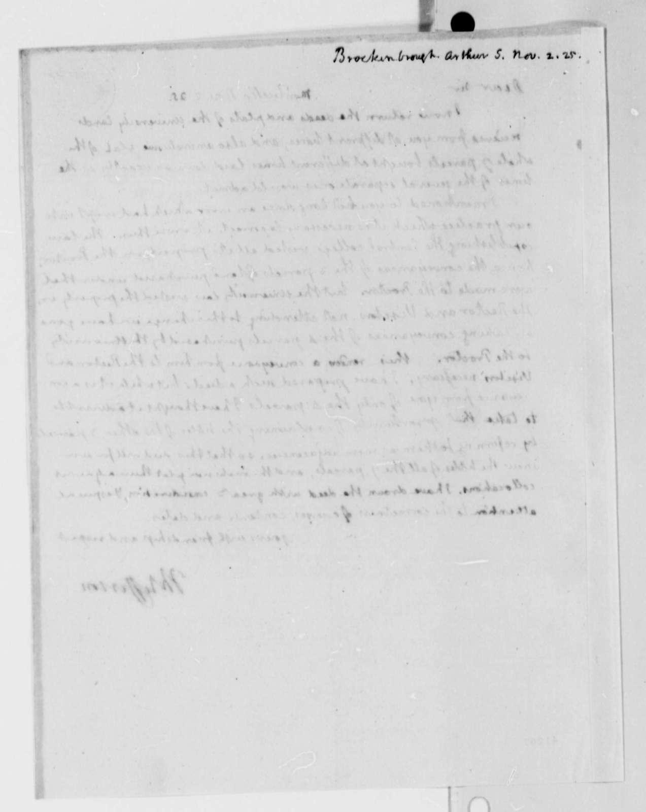 Thomas Jefferson to Arthur S. Brockenbrough, November 2, 1825