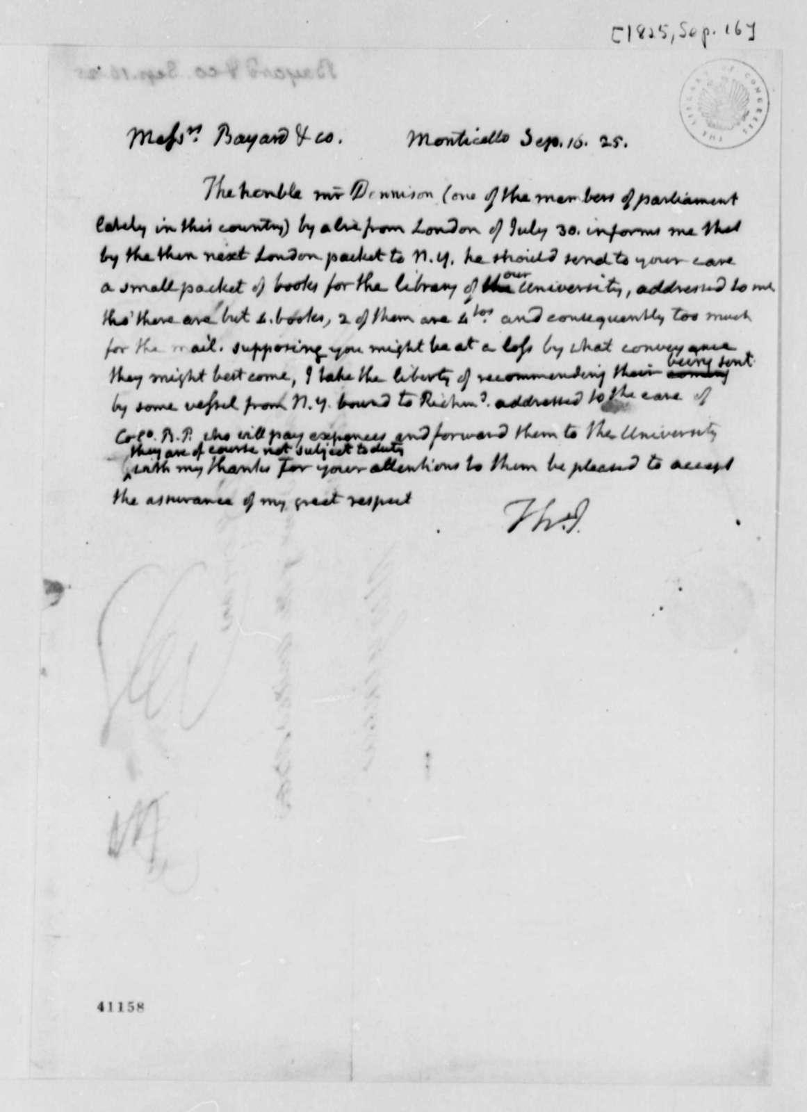 Thomas Jefferson to Bayard & Company, September 16, 1825