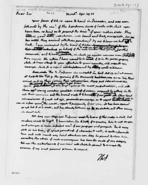 Thomas Jefferson to Bernard M. Carter, April 29, 1825