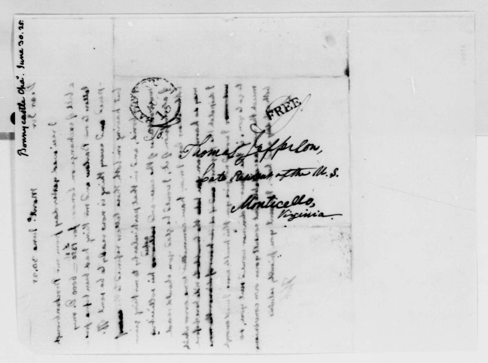 Thomas Jefferson to Charles Bonnycastle, June 30, 1825
