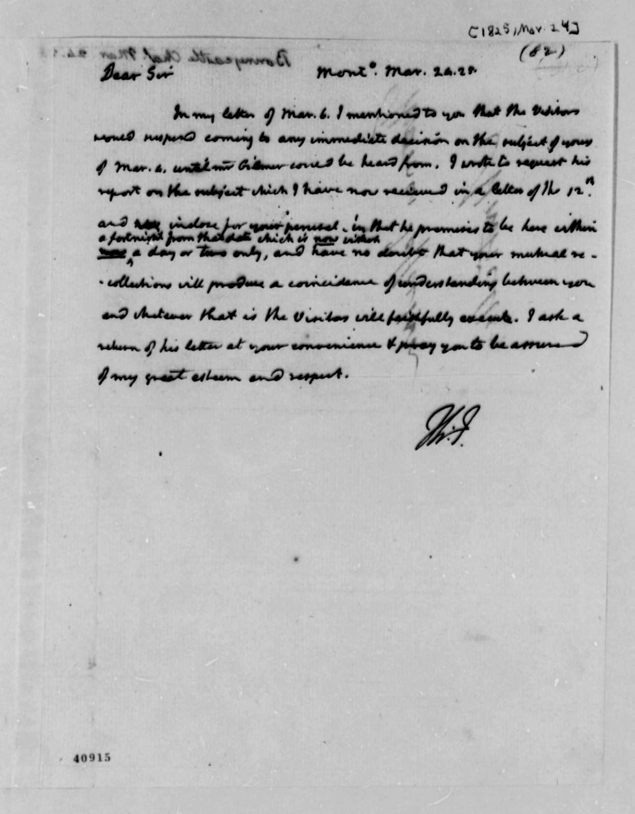 Thomas Jefferson to Charles Bonnycastle, March 24, 1825