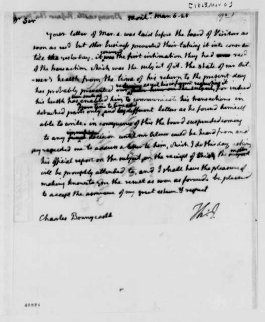 Thomas Jefferson to Charles Bonnycastle, March 6, 1825