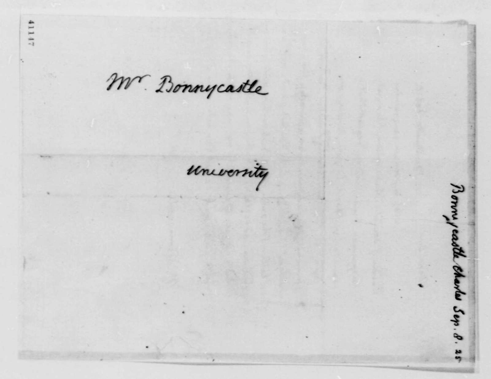 Thomas Jefferson to Charles Bonnycastle, September 8, 1825, with Reply