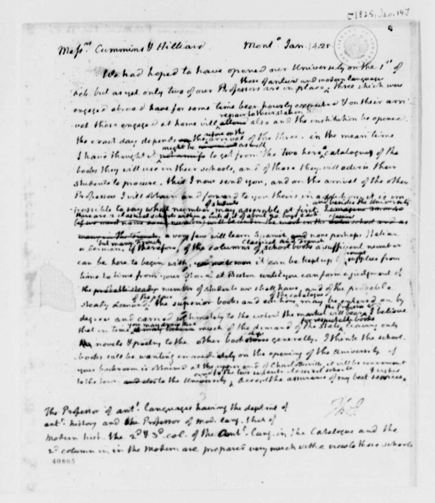 Thomas Jefferson to Cummings & Hillard, January 14, 1825