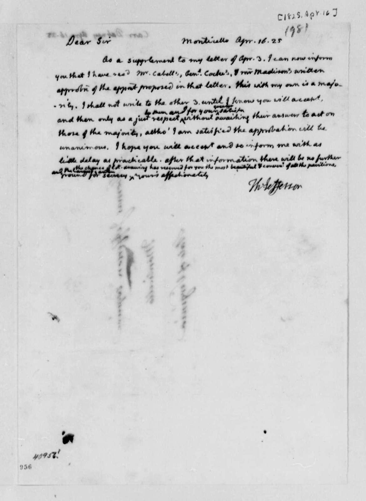 Thomas Jefferson to Dabney Carr, April 16, 1825