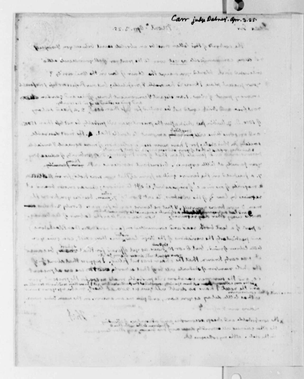Thomas Jefferson to Dabney Carr, April 3, 1825