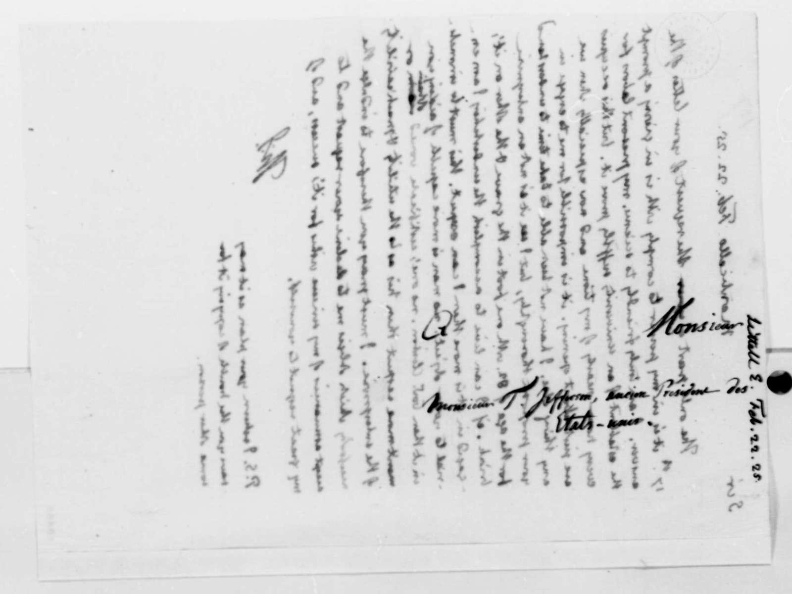Thomas Jefferson to E. Littell, February 22, 1825
