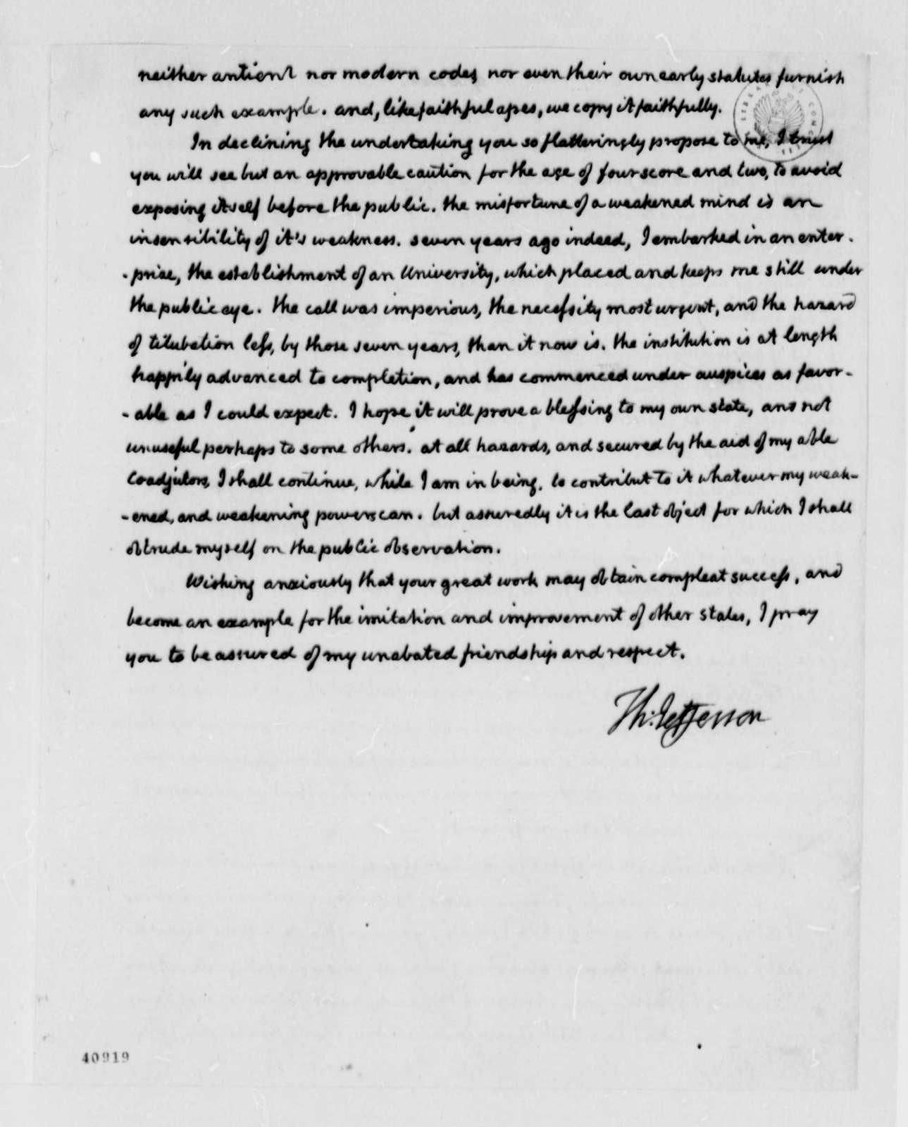 Thomas Jefferson to Edward Livingston, March 25, 1825