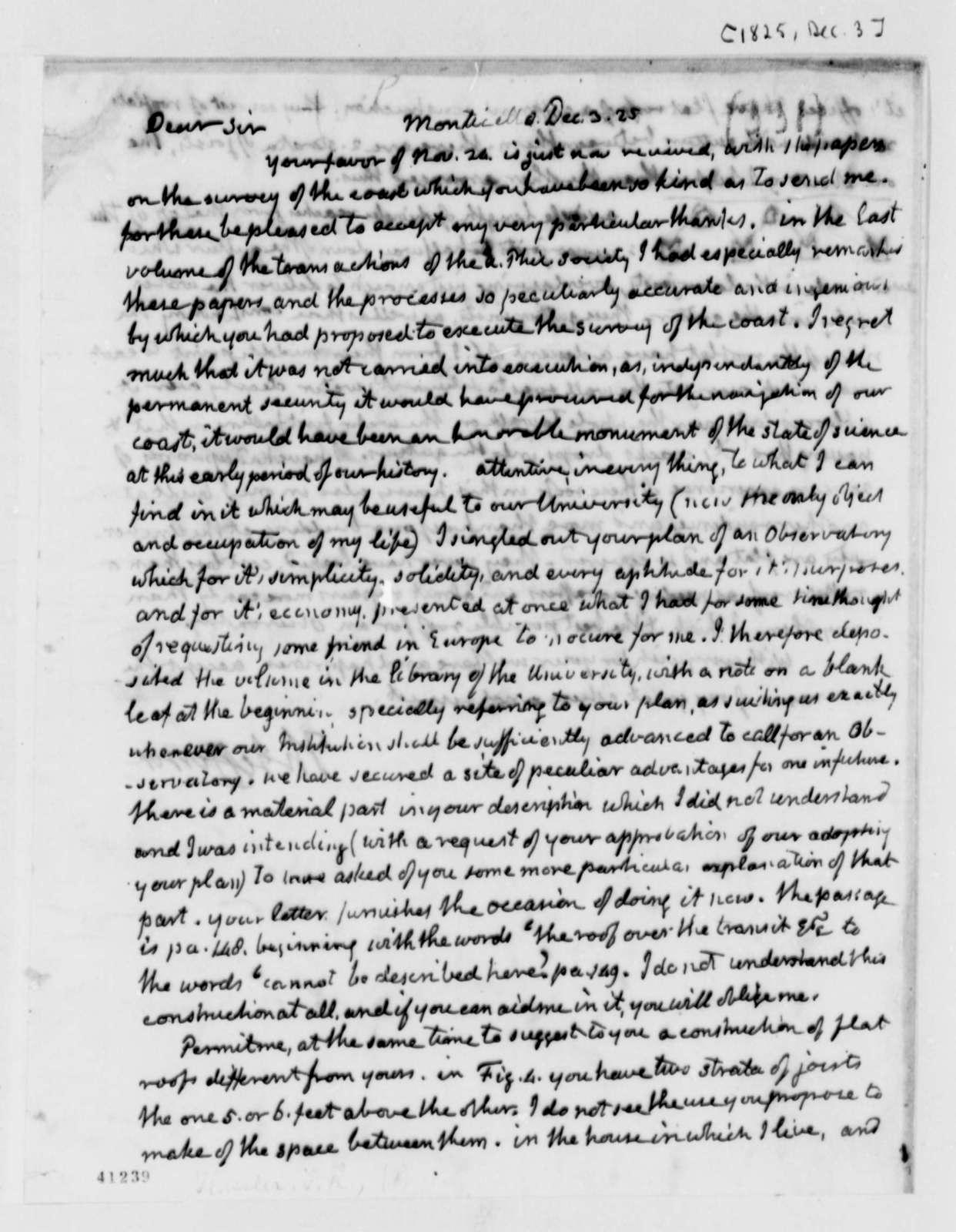 Thomas Jefferson to Ferdinand R. Hassler, December 3, 1825