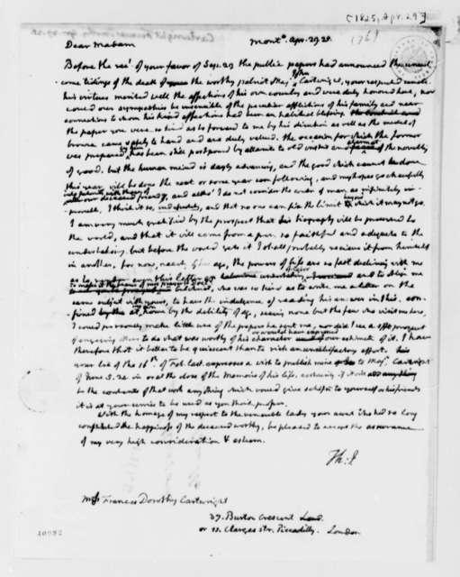 Thomas Jefferson to Frances D. Cartwright, April 29, 1825
