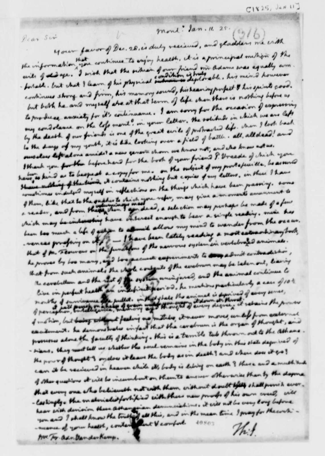 Thomas Jefferson to Francis A. van der Kemp, January 11, 1825