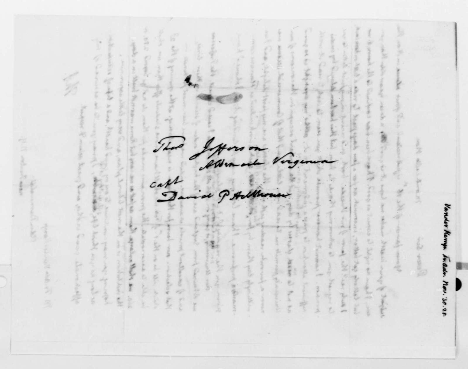 Thomas Jefferson to Francis A. van der Kemp, November 30, 1825