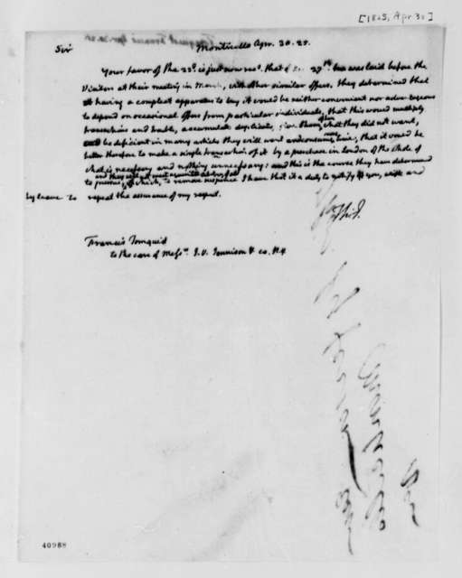 Thomas Jefferson to Francis Tornquist, April 30, 1825